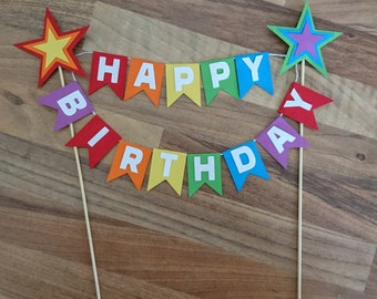 Rainbow Cake Topper, Rainbow Star cake Bunting, Rainbow Happy birthday, First birthday, Flag bunting, Cake banner, Multi coloured