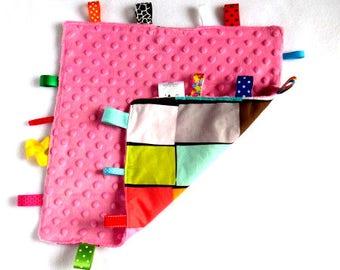 Flo Taggie - Pink Minky Tag Blanket ~ Sensory Blanket ~ Tag Blanket ~ Lovey ~ Pink Minky Cuddle blanket ~ Multi colour Tag blanket