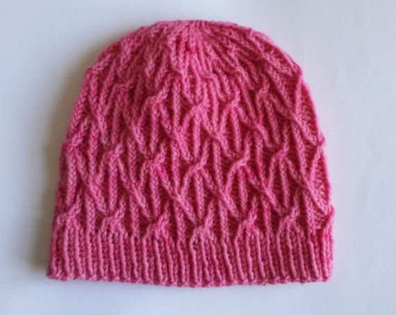 Pink Aran Beanie: knit chunky wool hat. Made in Ireland. Original design; handknit from luxury hand dyed yarn. Unique; one of a kind.