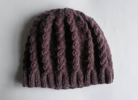 Chunky Knit Cable Beanie: luxury tweed merino alpaca soft yarn. Large size. Made in Ireland. Handknit Aran hat. Purple mauve colour. Unisex.