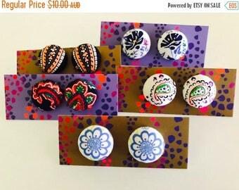 SALE Fabric button earrings , floral earrings , paisley earrings , statement earrings , gifts for her.