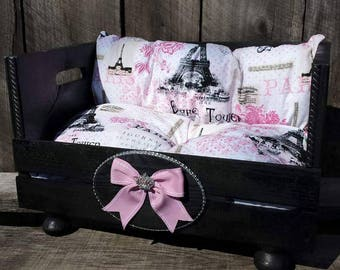 Black and Pink Paris Crate Bed with Rhinestone Crown