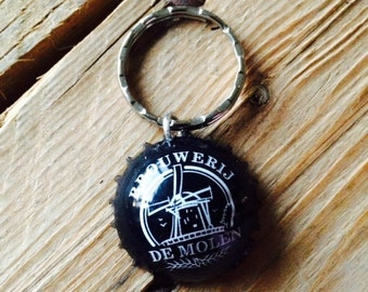 De Molen (mill) Dutch beer bottle cap key chain - Handmade by Charlie