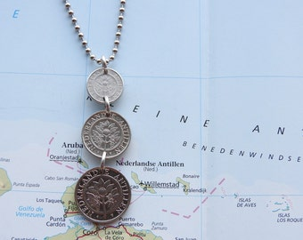 Bonaire / Curacao coin necklace/keychain - 3 different designs - made of original coins from the Lesser Antilles