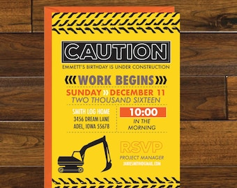 Construction Party Birthday Invitation, Digital Download
