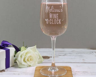 Personalised Wine Glass - Wine O'Clock Glass - Wine Glass Gift - Bridesmaid Gift - Gift for Wine Lovers - Wine Lovers Glass