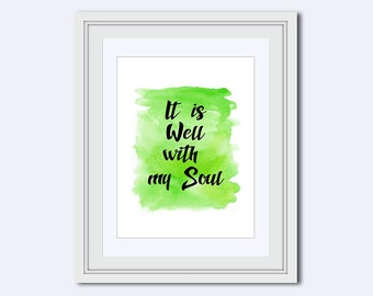 It is Well printable - Christian wall decor - popular Bible quote - gift for Christian - lime green print - Printable Art - printable quotes
