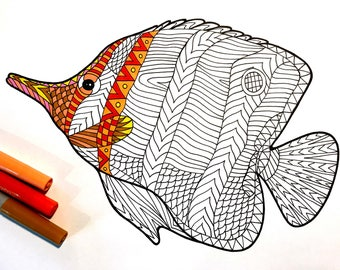 Butterflyfish - PDF Zentangle Coloring Page