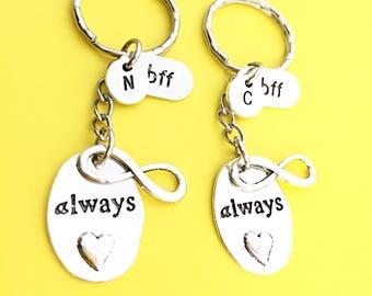 Custom,Always keychain, always bff keychain, bff charm, always word pendant, friendship accessories, bff, best friend, birthday gift