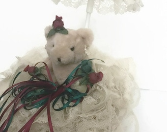 Vintage Storage Basket Bear 2-Pieces Lace Handmade Victorian Decor Easter Gift