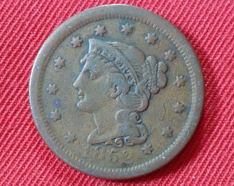 1852 Braided Hair Large Cent Vintage Liberty Head Copper Coin