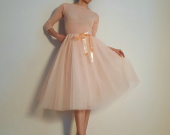 Tulle skirt petticoat light version apricot pastel skirt length 70 cm