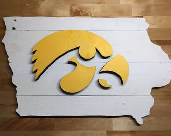 Iowa Hawkeye wall hanging sign - 2 sizes