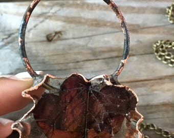 Maple Leaf with copper ord and outline necklace