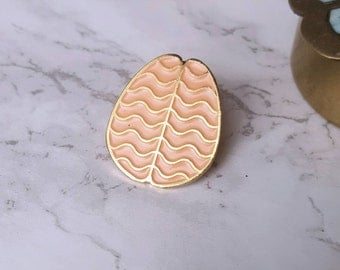 Coral Brain Enamel Pin with Gold plating