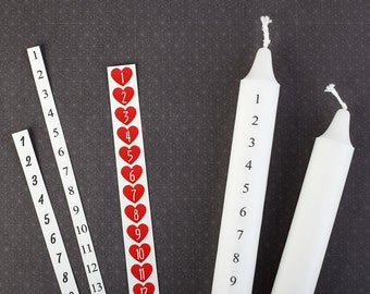 DIY Advent Calendar Candle - Decals with Numbers, Set of 4 - Countdown of Days to Christmas Eve