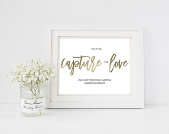 Wedding Sign Template   Programs Sign   Hashtag Sign Capture the Love   Printable Wedding Sign   5x7 & 8x10   EDN 5447
