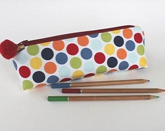 Spotty Pencil Case, Crochet Hook Case, Zipped Accessory Case, Spotty Bag, Pompoms