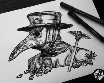 BLACK DEATH - Art Print - Plague Doctor - Mask - Costume - Illustration - Dotwork Linework - Dark Art - Tattoo - Blackwork