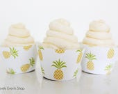 Tropical Yellow Pineapple Cupcake Wrappers, Pineapple Cupcake Wrappers, Pineapple Party Supplies, Pineapple Decorations- Set Of 6,12,16,24+