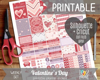 Valentines Printable Planner Stickers, Erin Condren Planner Stickers, Weekly Planner Stickers - ...