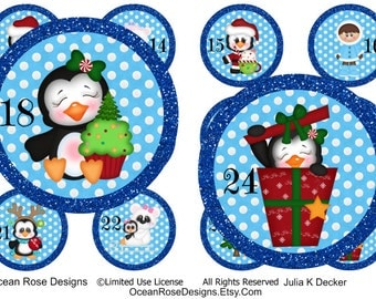 Penguin Christmas party Advent calendar, Digital collage, count down to Christmas, 1.5 inch round , 24 circles