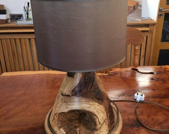 Burled Oak Monster Face Lamp