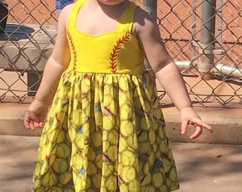Softball dress, girls dress, toddler dress, spring dress, softball, dress, softball outifit