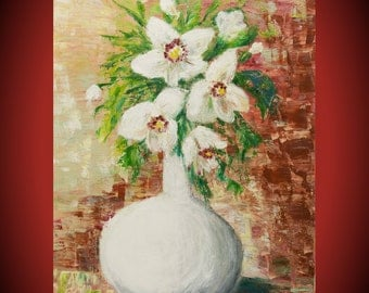 art painting white bouquet romantic gift woman grandma gift acrylic painting canvas flowers art creative painting inspiration wall art
