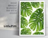 Hawaiian decor, tropical print, monstera leaf art, tropical decoration, hawaiian party decor, green wall art, palm leaf print, instant art