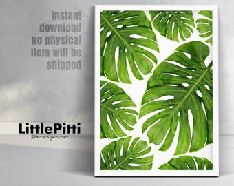 Hawaiian decor, tropical print, monstera leaf art, tropical decoration, hawaiian party decor, green wall art, palm leaf print, instant art