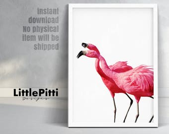 Flamingo print, nursery birds, tropical wall art decor, exotic birds, pink wall decor, printable instant download, pink flamingo art