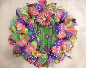 SALE Summer Wreath, Summer Decor, flip flop wreath, summer flip flop wreath, wreath, colorful wreath, bright wreath, summer decor