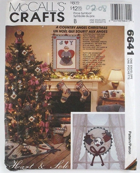Vintage McCalls Crafts Country Angel Christmas Pattern Number 6641 Holiday Decor Ideas Sewing Pattern Christmas Ornaments DIY Patterns
