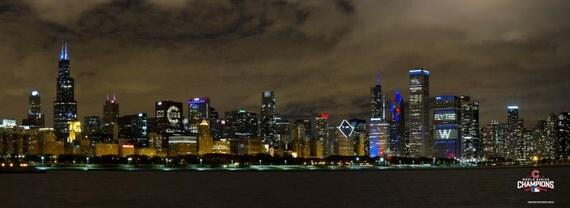 Chicago Cubs #FlytheW Skyline Canvas Wrap