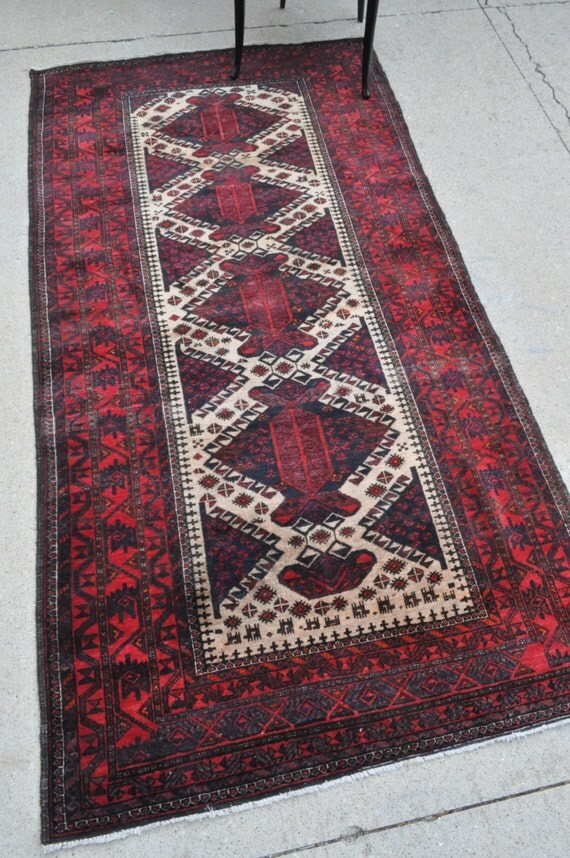Vintage Tribal Baluch rug - 3'10 x 7'3 - 117 x 220 cm. Free shipping!