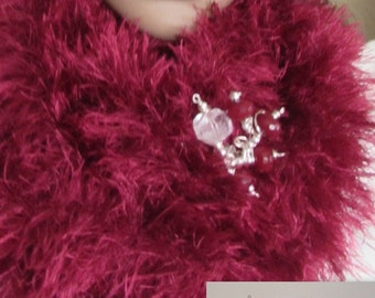 Infinity Scarf Faux Fur Hand Knitted - Garnet