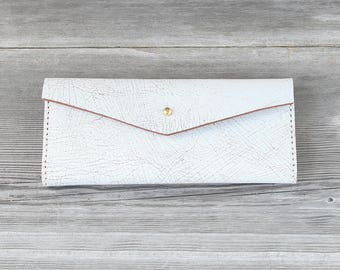 Leather Long Wallet // Distressed White Crackle