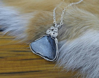 Silver Sheen Obsidian Pendant, Wire Wrapped, Boho Jewelry, Gypsy Jewelry, Raw Obsidian Necklace, Volcanic Glass, Black Glass, Black Rock