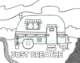 Adult Coloring Page - Colouring - Coloring for Grown Ups - Retro Camper - Hand Drawn - Printable Digital Download