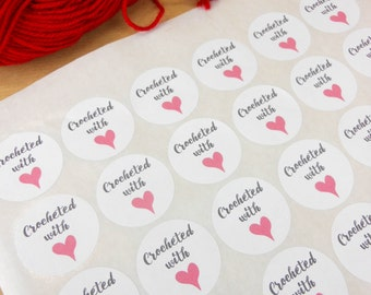 Crocheted with love stickers, made with love, crochet with love, handmade label, handmade with love, crochet labels,
