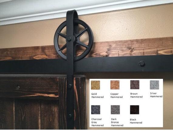 Hammered Sliding Barn Door Hardware   6 ft- 14 ft Single Door Kit Industrial Rustic Vintage 6 in spoked Wheels