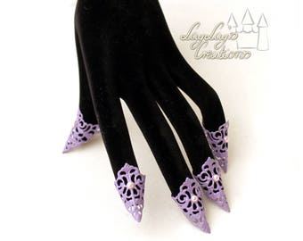 Purple Fairy claws, fairy claws (one hand, vintage, cosplay, fairy, steampunk, claws, unicorn, pastell, fairy, finger armour, spring)