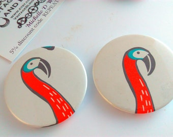 Handmade flamingo badge, flamingo badge, handmade flamingo badge, flamingo, flamingos, kitsch badges, flamingo gift, kitsch badge, kitsch