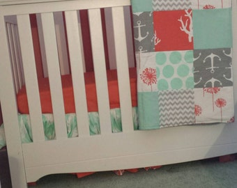 Coral, Mint, and Gray Crib/Toddler bed set. Nautical bed set.