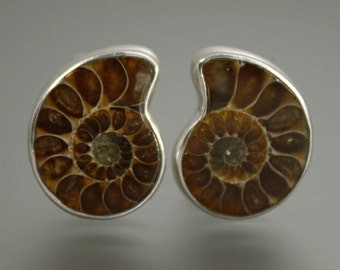Cuff Links, ammonite cufflinks, handmade cufflinks,silver cufllinks,ammonite,brown Cuff Links,ammonite jewelry,mens jewelry,
