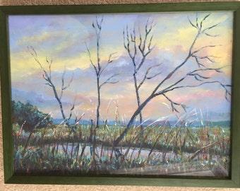 thai trees at sunrise oil painting