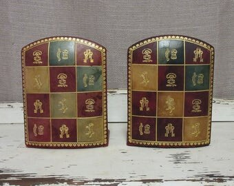 Vintage Italian Leather Bookends;Vintage Florentine Bookends