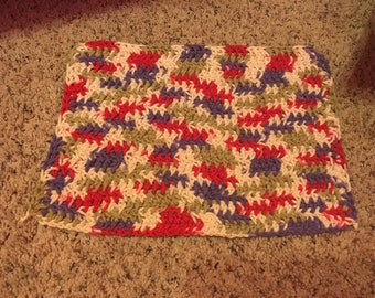 Purple & Red crocheted dish cloth