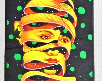 Fluorescent UV Painting of Head/Mind Unraveling Hand Painted